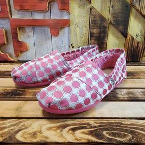 Toms Size Y4.5 Pink/Silver Polka Dot
